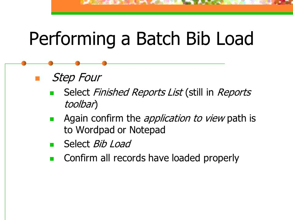 Performing a Batch Bib Load