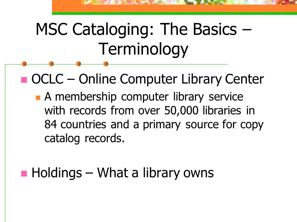MSC Cataloging: The Basics – Terminology