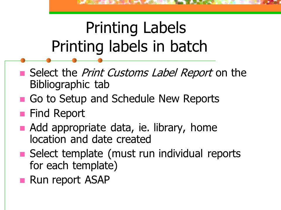 Printing Labels Printing labels in batch