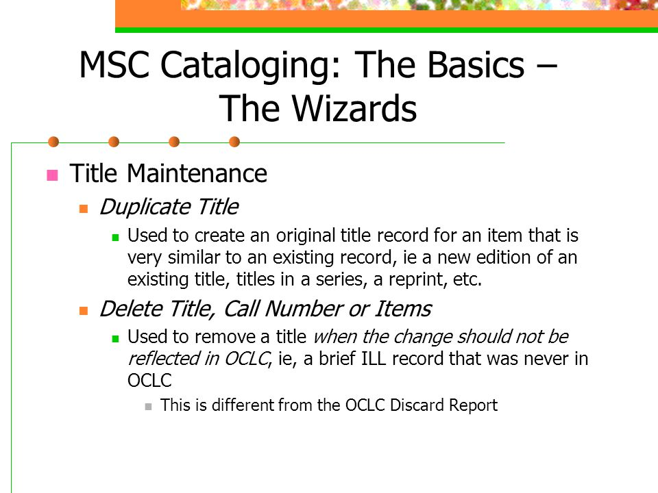 MSC Cataloging: The Basics – The Wizards