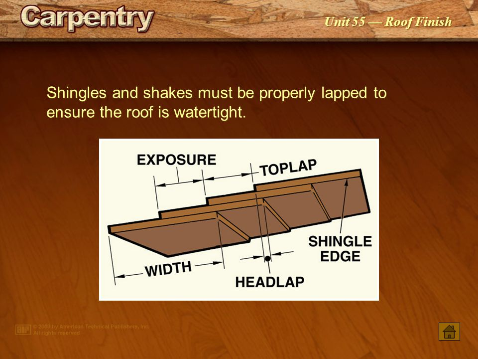 Shingles and shakes must be properly lapped to ensure the roof is watertight.