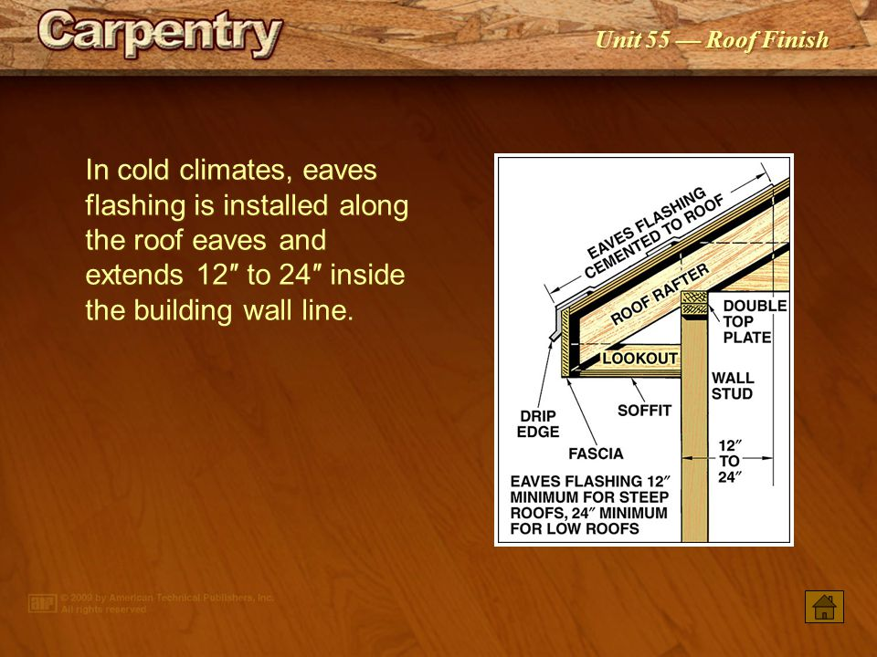 In cold climates, eaves flashing is installed along the roof eaves and extends 12″ to 24″ inside the building wall line.