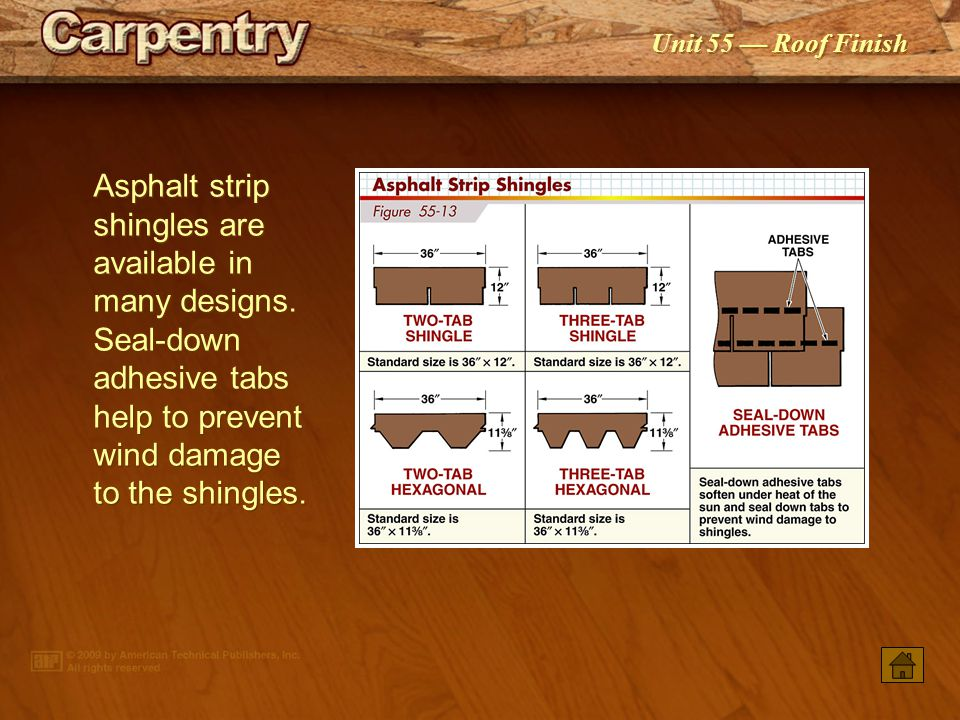 Asphalt strip shingles are available in many designs