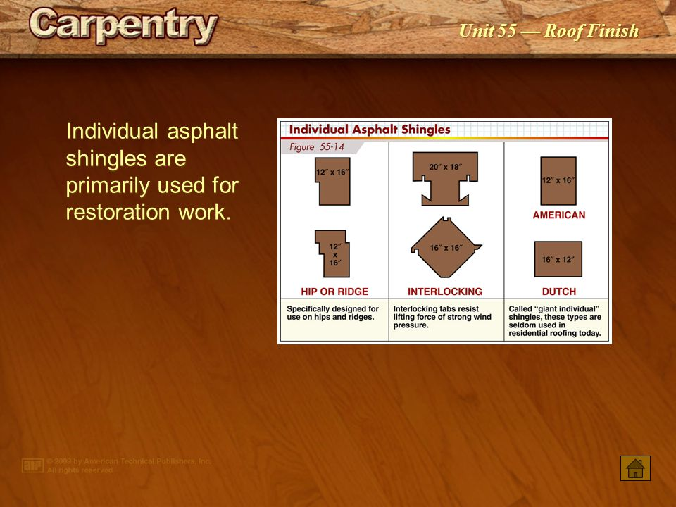 Individual asphalt shingles are primarily used for restoration work.