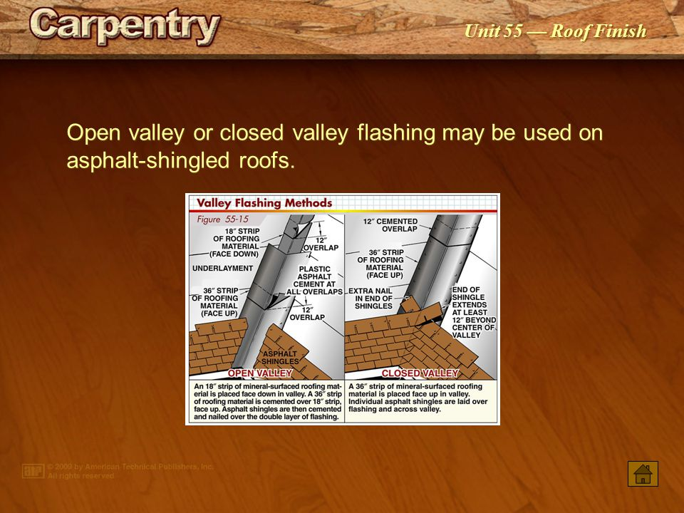 Open valley or closed valley flashing may be used on asphalt‑shingled roofs.