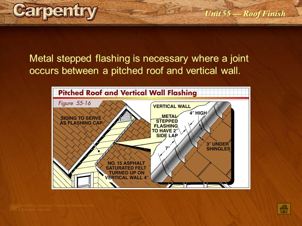 Metal stepped flashing is necessary where a joint occurs between a pitched roof and vertical wall.