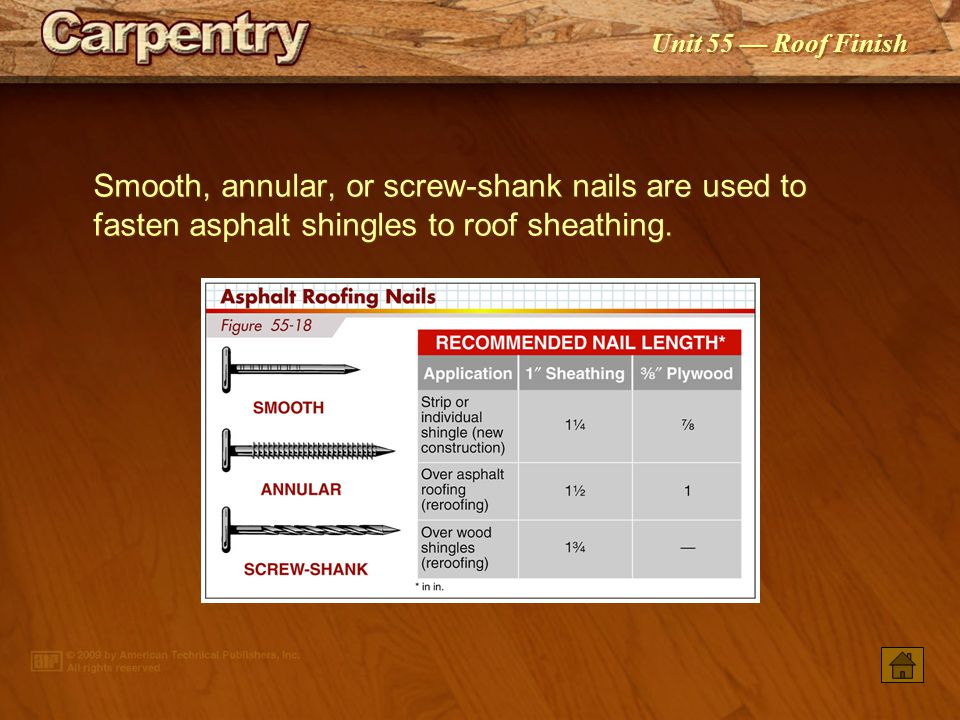 Smooth, annular, or screw-shank nails are used to fasten asphalt shingles to roof sheathing.