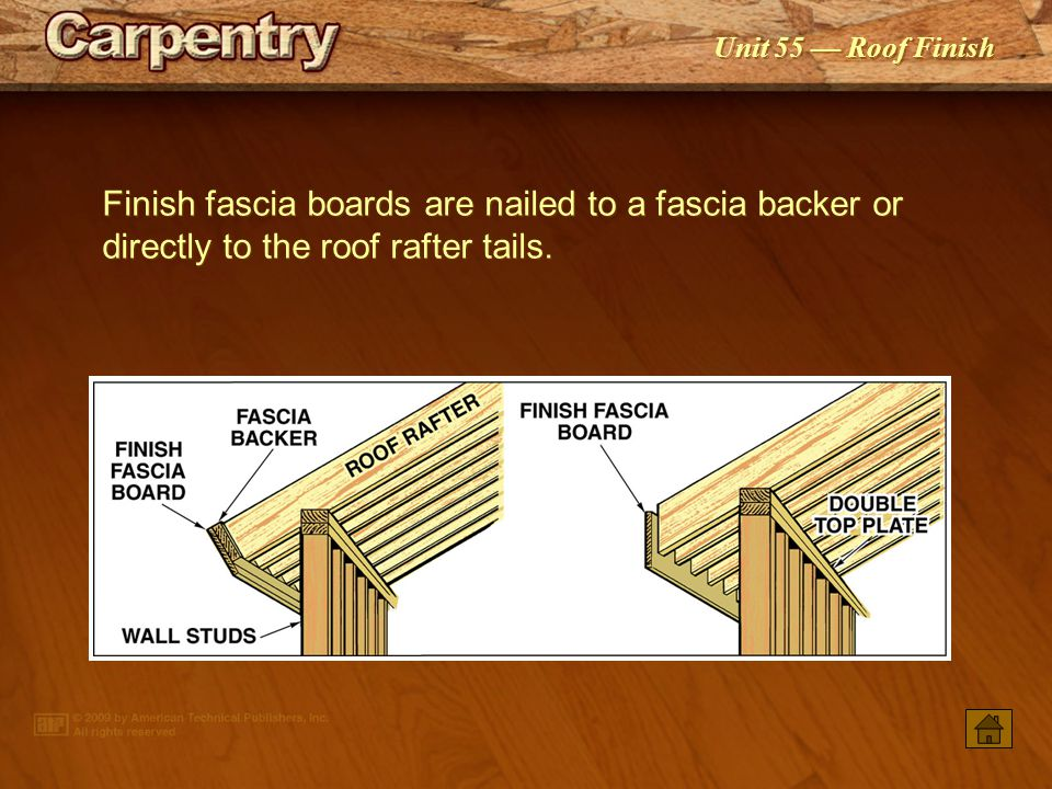 Finish fascia boards are nailed to a fascia backer or directly to the roof rafter tails.