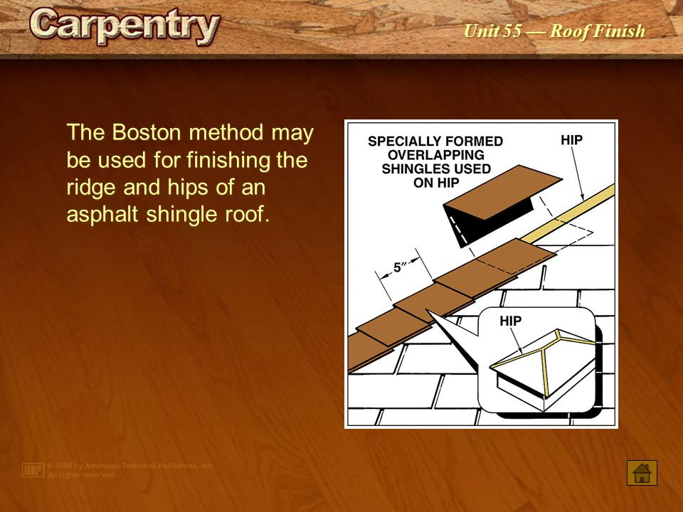 The Boston method may be used for finishing the ridge and hips of an asphalt shingle roof.
