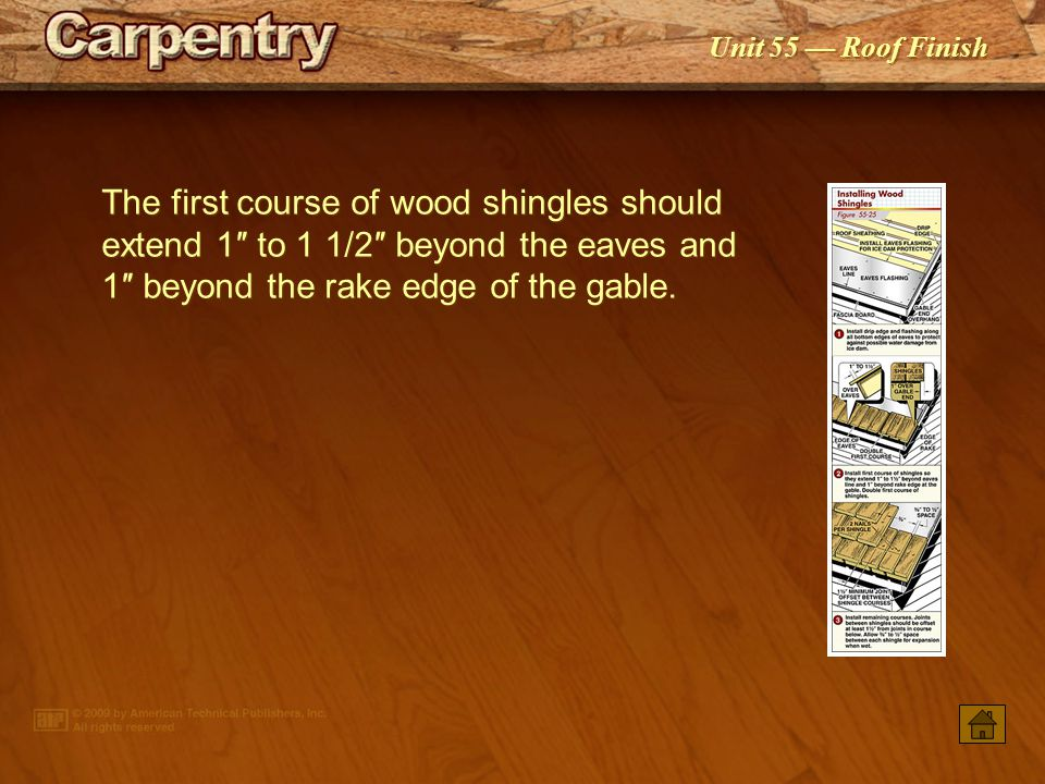 The first course of wood shingles should extend 1″ to 1 1/2″ beyond the eaves and 1″ beyond the rake edge of the gable.