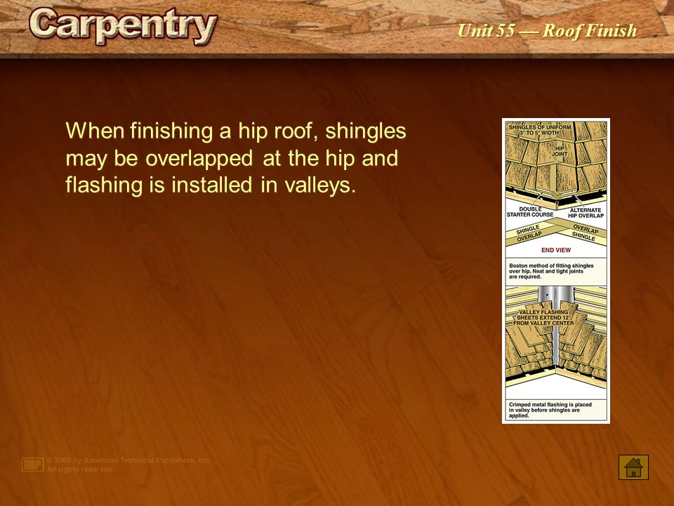When finishing a hip roof, shingles may be overlapped at the hip and flashing is installed in valleys.