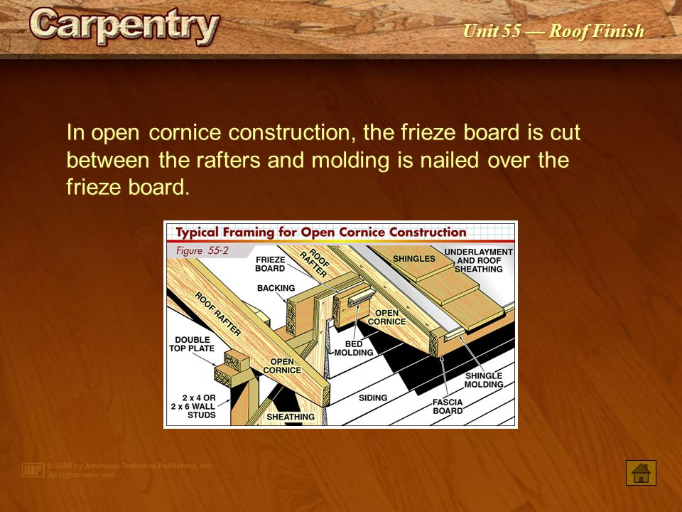 In open cornice construction, the frieze board is cut between the rafters and molding is nailed over the frieze board.