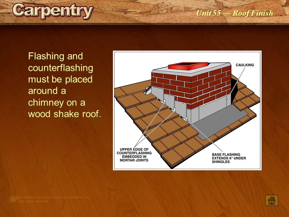 Flashing and counter­flashing must be placed around a chimney on a wood shake roof.