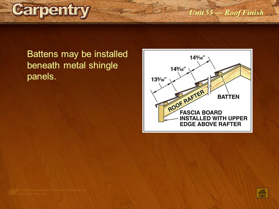 Battens may be installed beneath metal shingle panels.