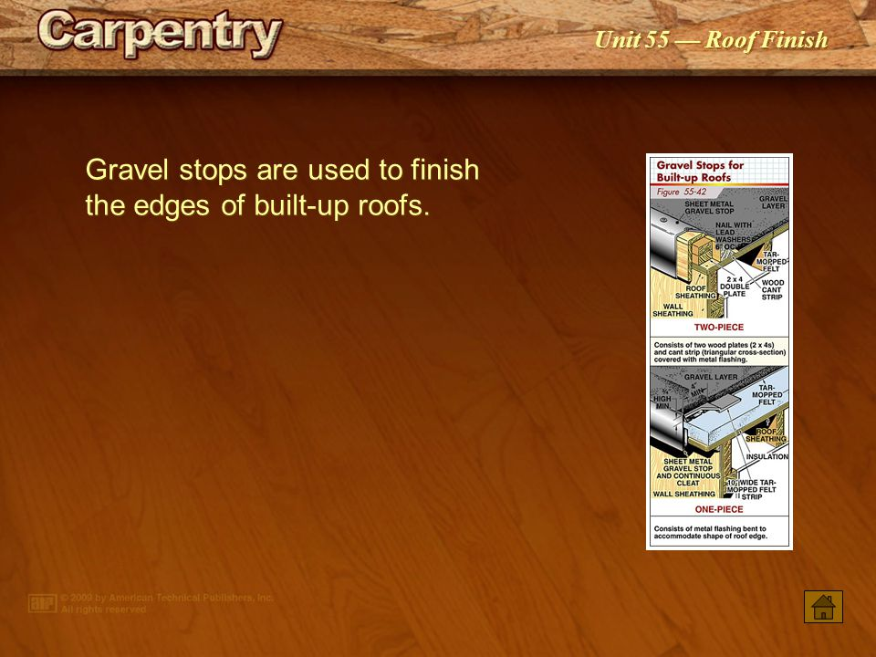 Gravel stops are used to finish the edges of built‑up roofs.