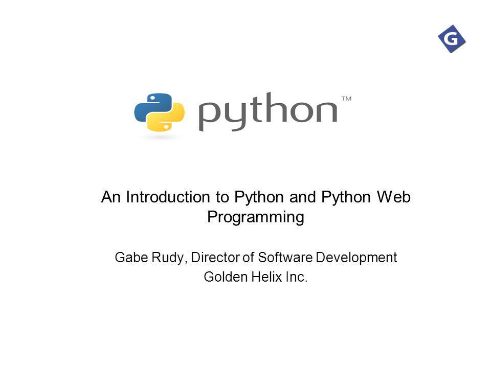 An Introduction to Python and Python Web Programming