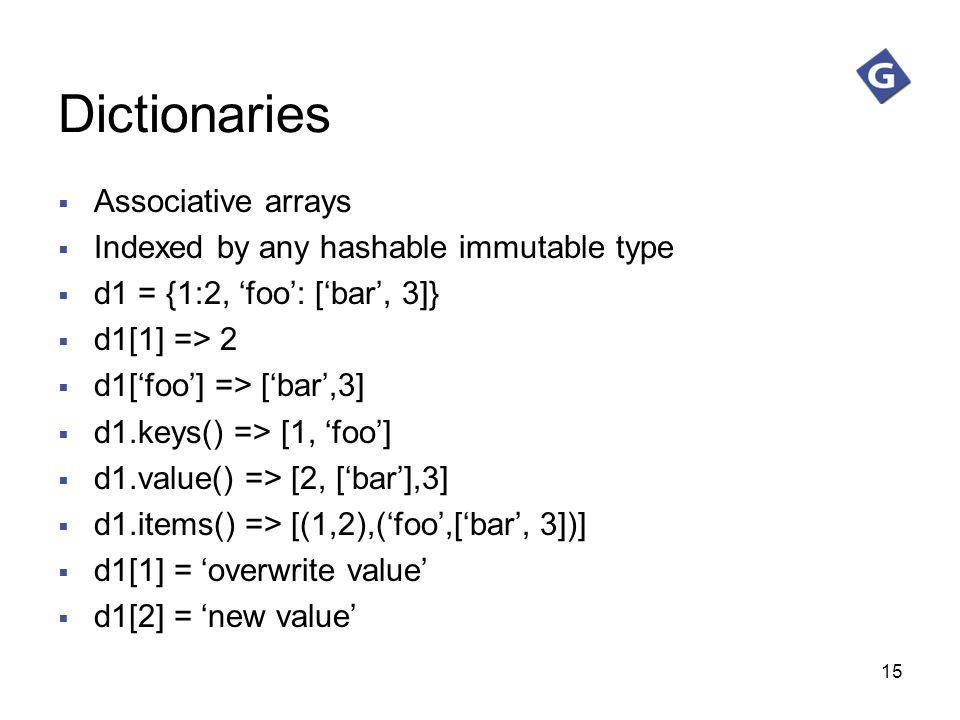 Dictionaries Associative arrays Indexed by any hashable immutable type