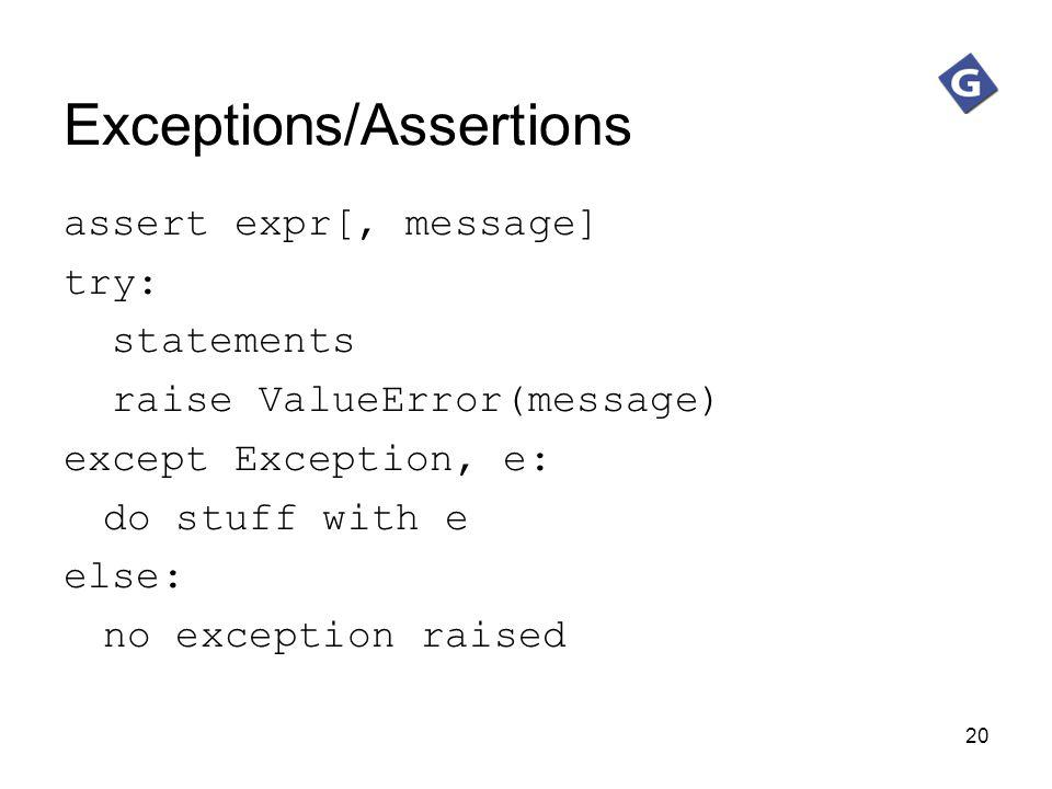Exceptions/Assertions