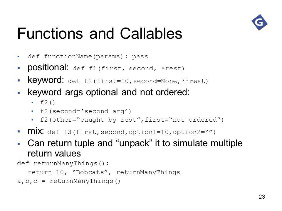 Functions and Callables