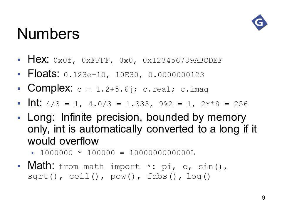 Numbers Hex: 0x0f, 0xFFFF, 0x0, 0x123456789ABCDEF