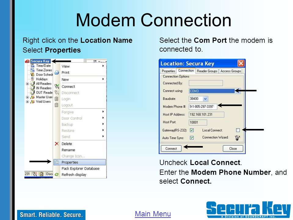 Modem Connection Right click on the Location Name