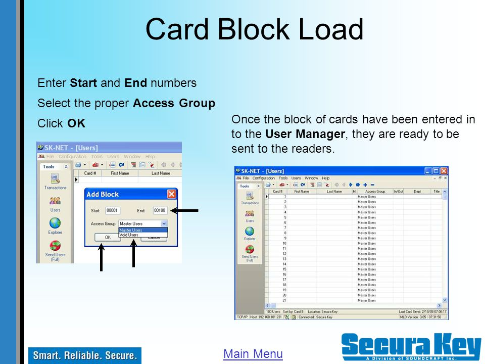 Card Block Load Enter Start and End numbers