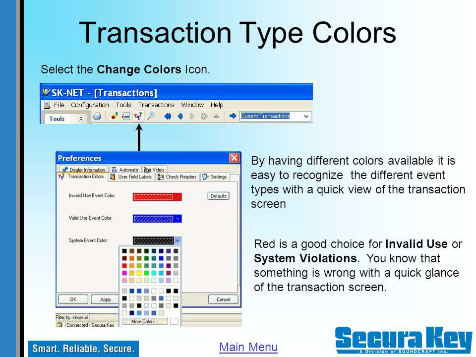Transaction Type Colors