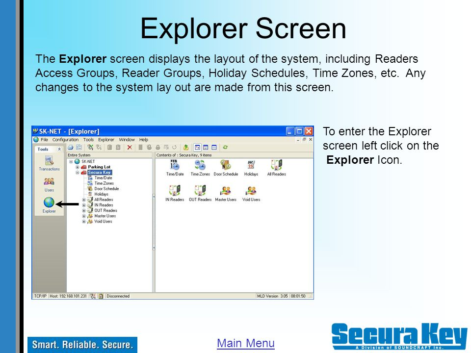 Explorer Screen