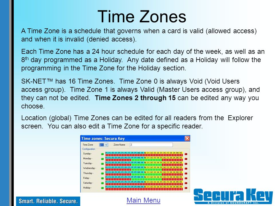 Time Zones A Time Zone is a schedule that governs when a card is valid (allowed access) and when it is invalid (denied access).