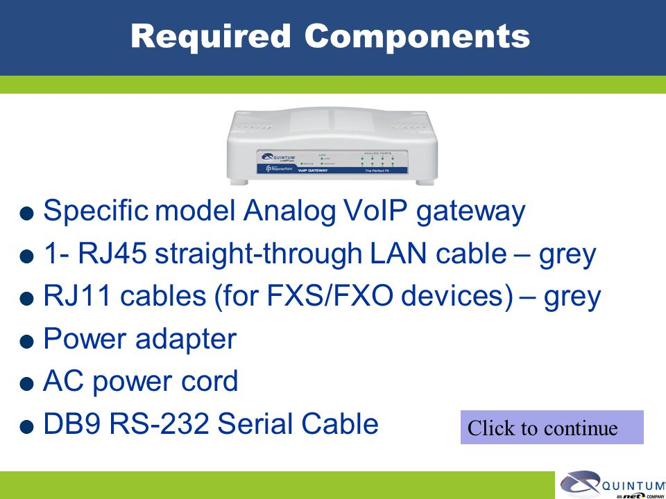 Required Components Specific model Analog VoIP gateway