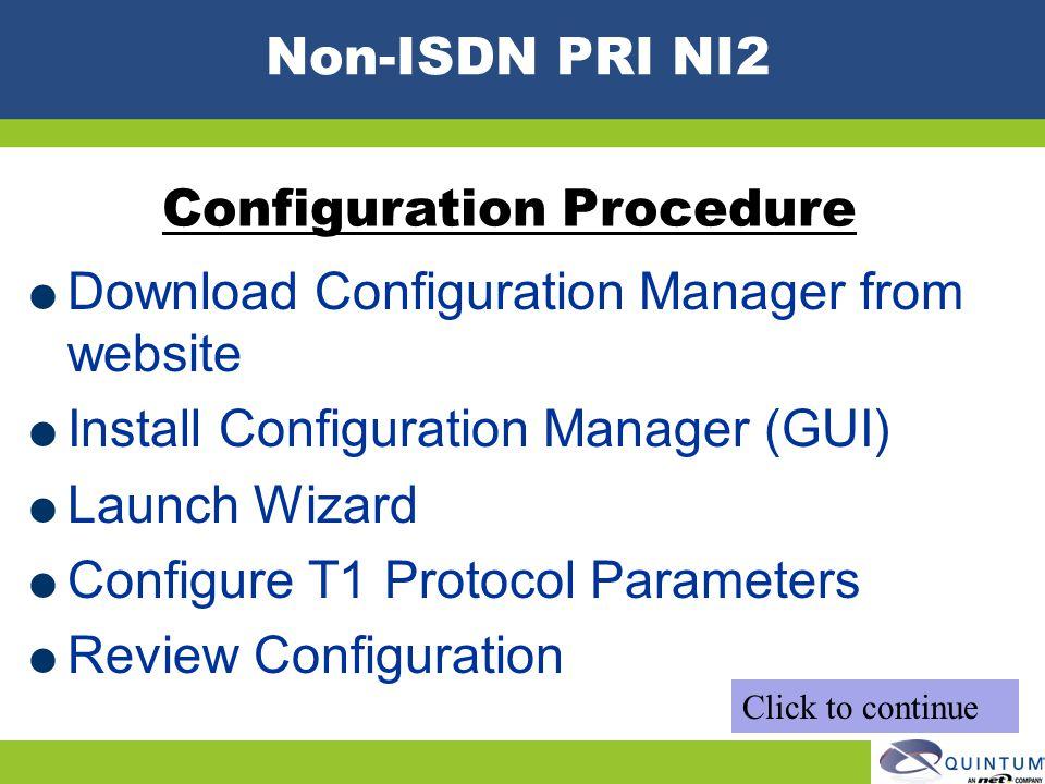 Configuration Procedure