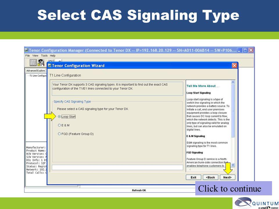 Select CAS Signaling Type