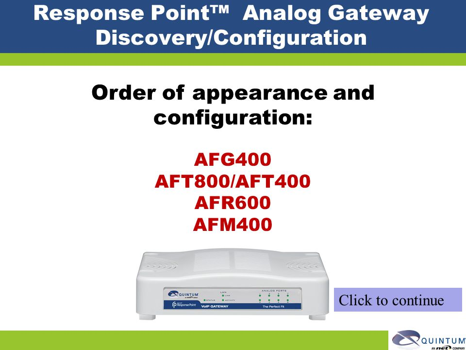 Response Point™ Analog Gateway Discovery/Configuration
