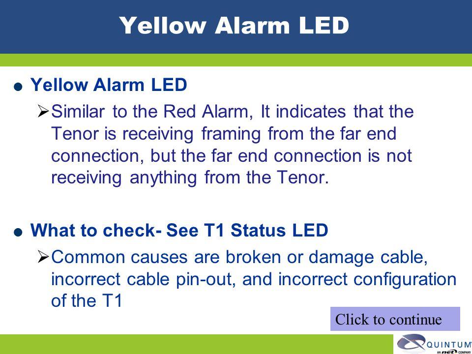 Yellow Alarm LED Yellow Alarm LED