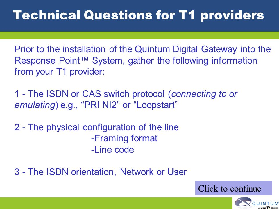 Technical Questions for T1 providers