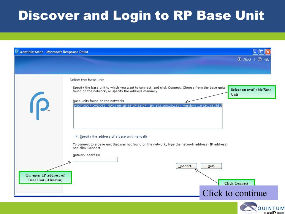 Discover and Login to RP Base Unit