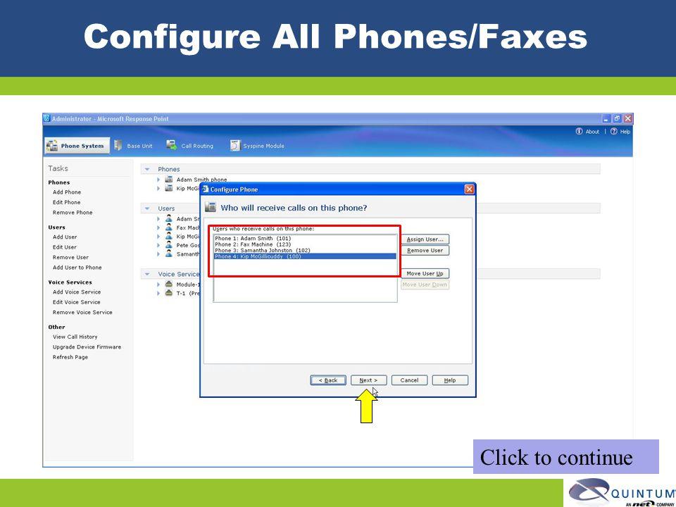 Configure All Phones/Faxes