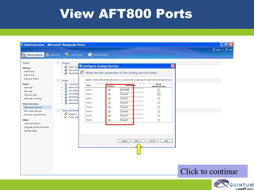 View AFT800 Ports Click to continue