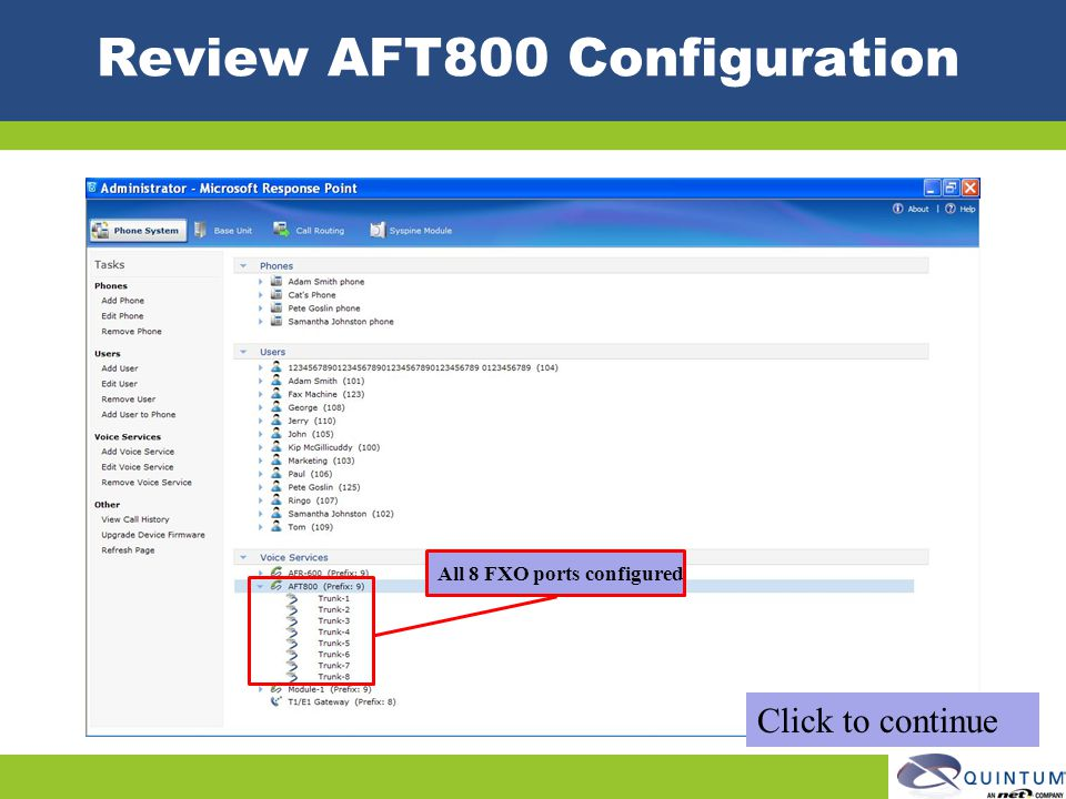 Review AFT800 Configuration
