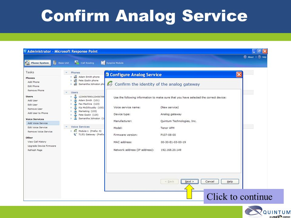 Confirm Analog Service