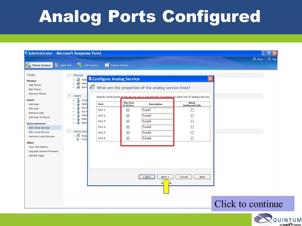 Analog Ports Configured