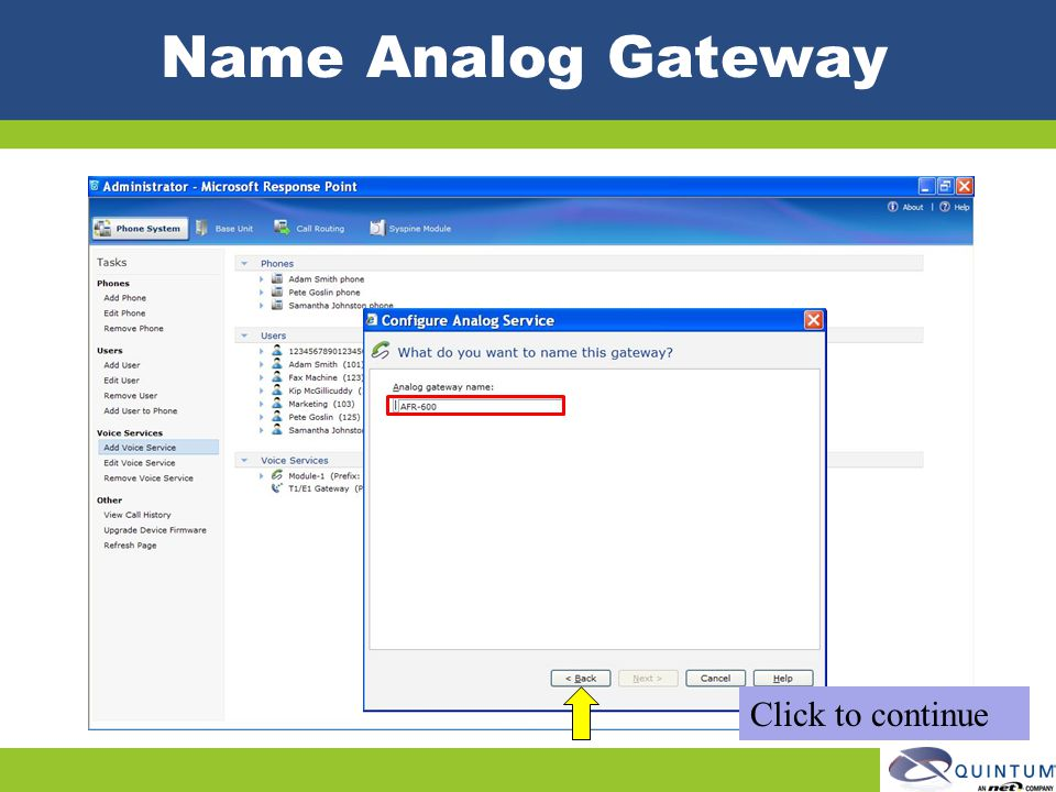 Name Analog Gateway Click to continue