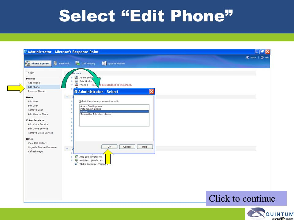 Select Edit Phone Click to continue