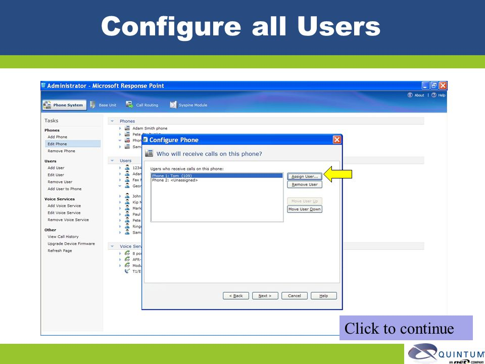Configure all Users Click to continue