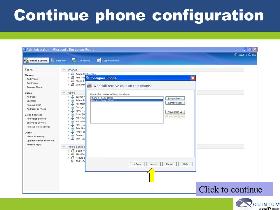 Continue phone configuration
