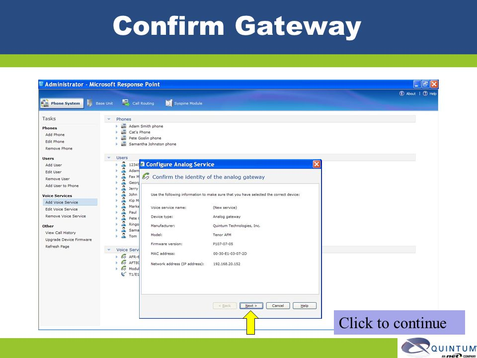 Confirm Gateway Click to continue