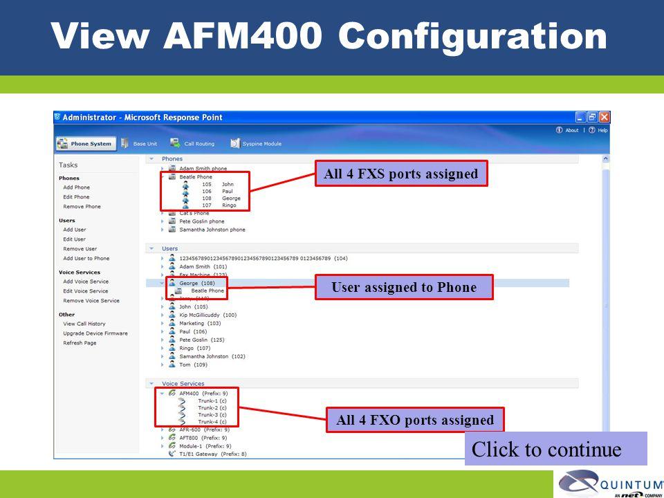 View AFM400 Configuration