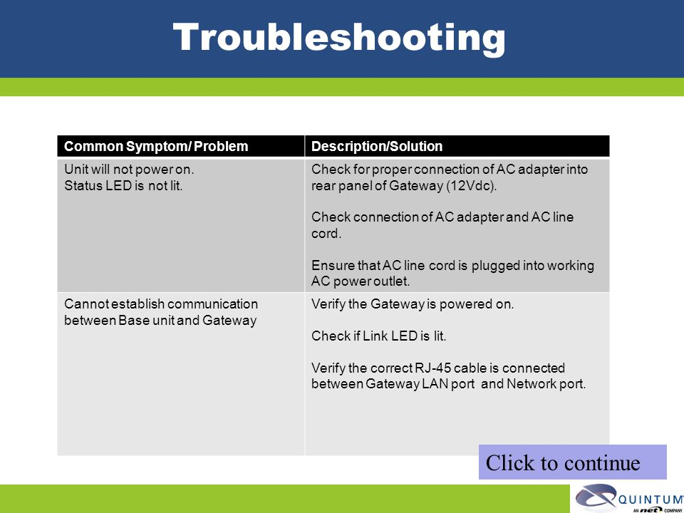 Troubleshooting Click to continue Common Symptom/ Problem