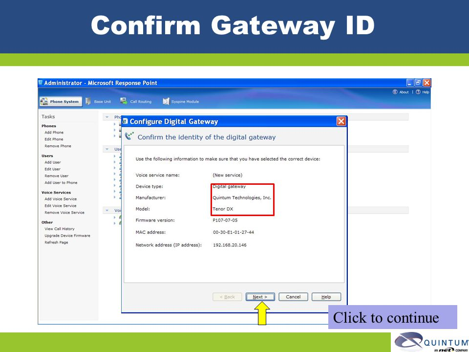 Confirm Gateway ID Click to continue