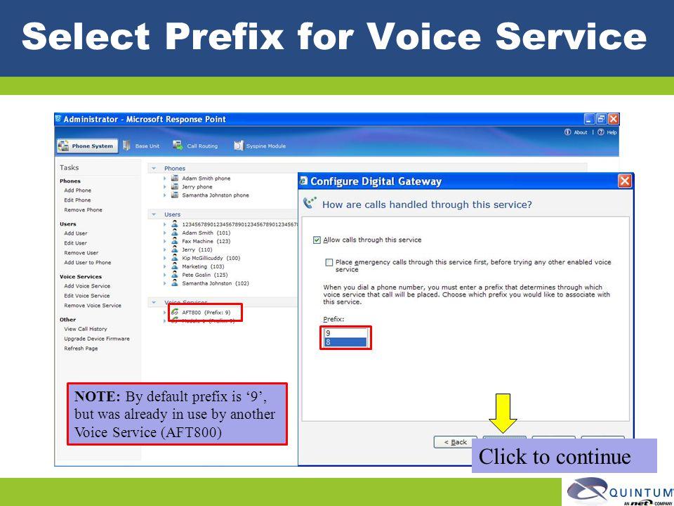Select Prefix for Voice Service